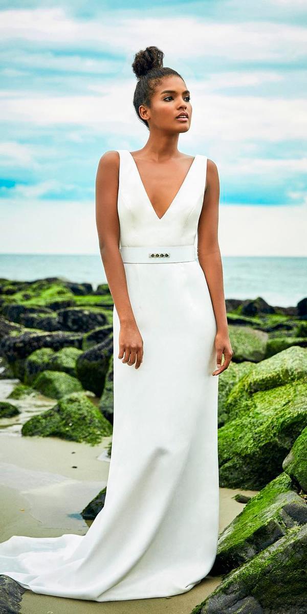 beach simple wedding dresses sheath v neckline sleeveless with train lakum collection