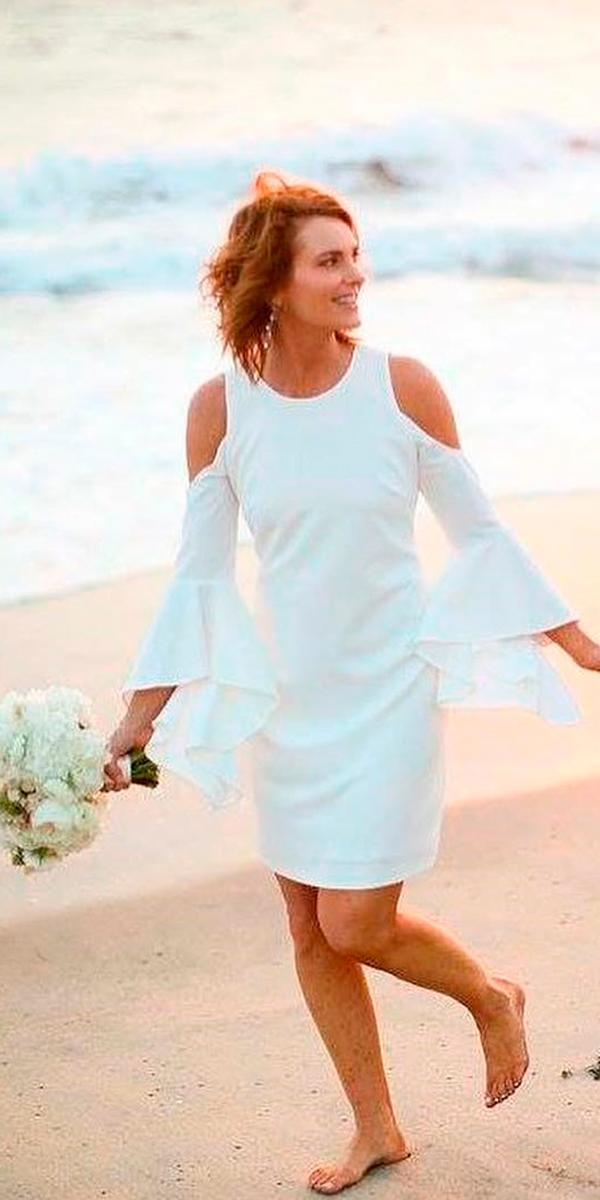 beach simple wedding dresses short simple open shoulders long sleeves melissamcclure