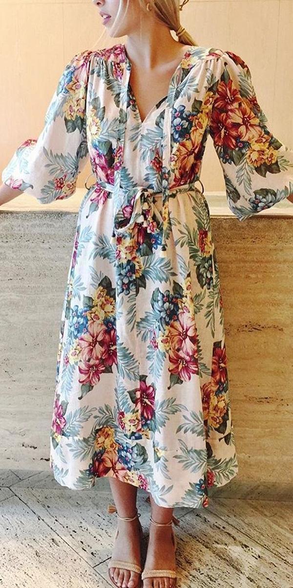 beach wedding guest dresses floral tea length v neckline long sleeve zimmermann