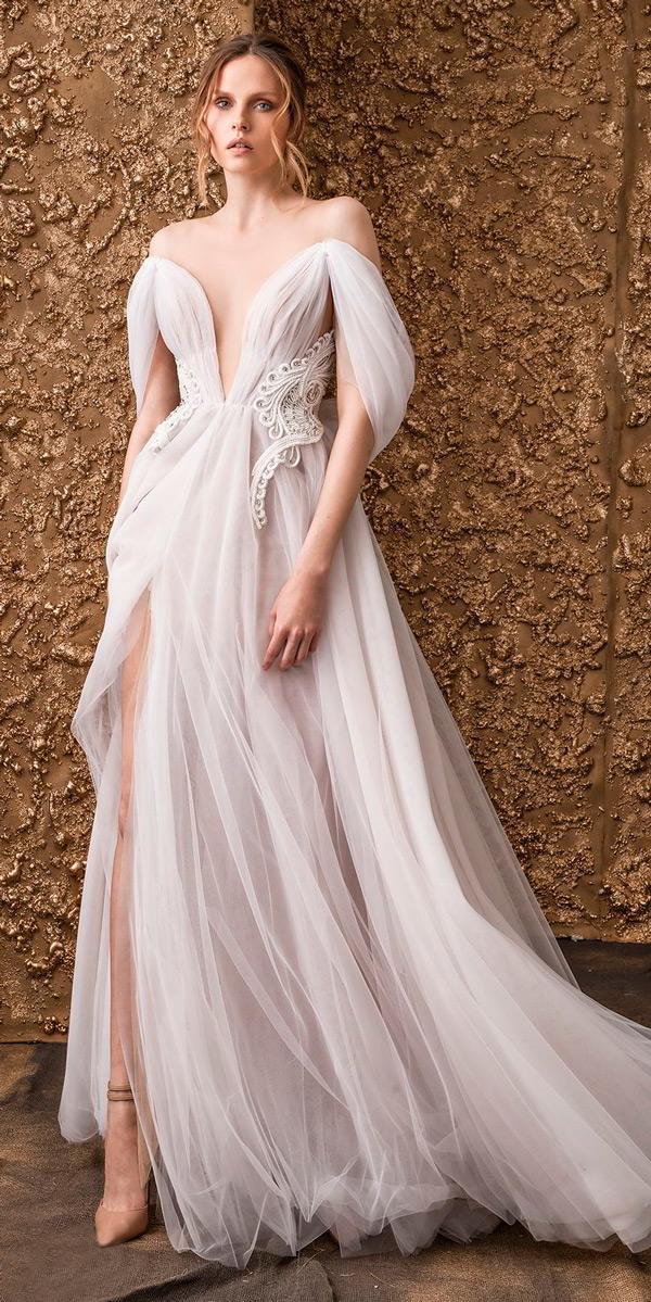 boho simple wedding dresses off the shoulder deep v neck ruched bodice romantic soft a line nurit hen