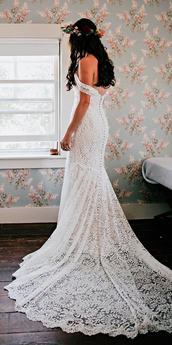 boho wedding dresses lace off the shoulder open back with train wtoo watters