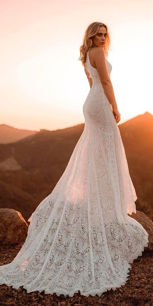 boho wedding dresses lace sleeveless with straps and train lover sx society