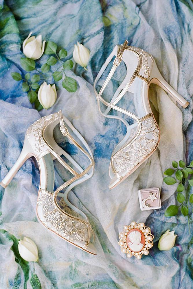 comfortable wedding shoes with gold floral rebecca yale