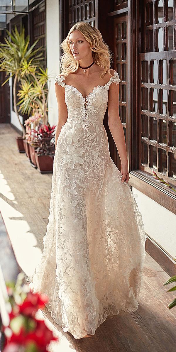 galia lahav wedding dresses a line off the shoulder sweetheart neckline floral appliques 2018