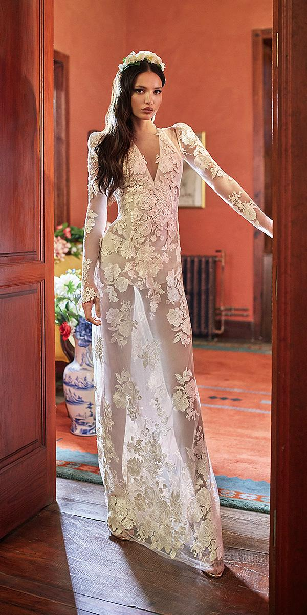 galia lahav wedding dresses bodysuit with long sleeves plunging neckline geometric cutout floral 2018