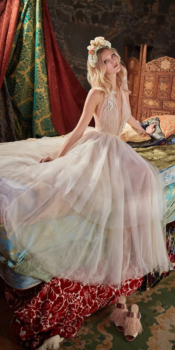 galia lahav wedding dresses deep v neckline halter top tulle skirt ivory simple