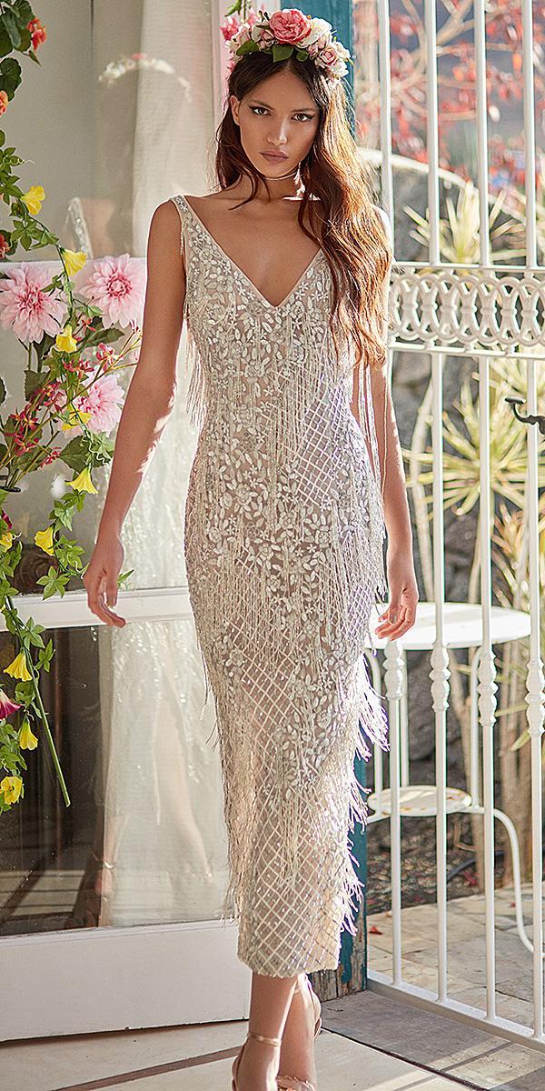 galia lahav wedding dresses deep v neckline ivory silver embroidered modern