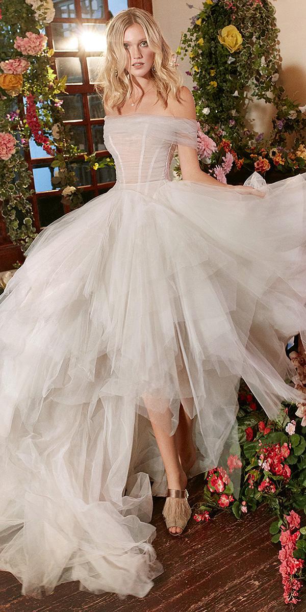 galia lahav wedding dresses high low straight across neckline 2018