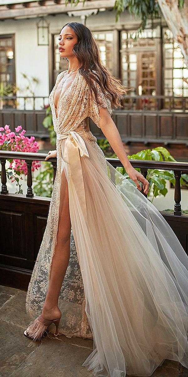 galia lahav wedding dresses kimono high slit sheer hand beaded 2018