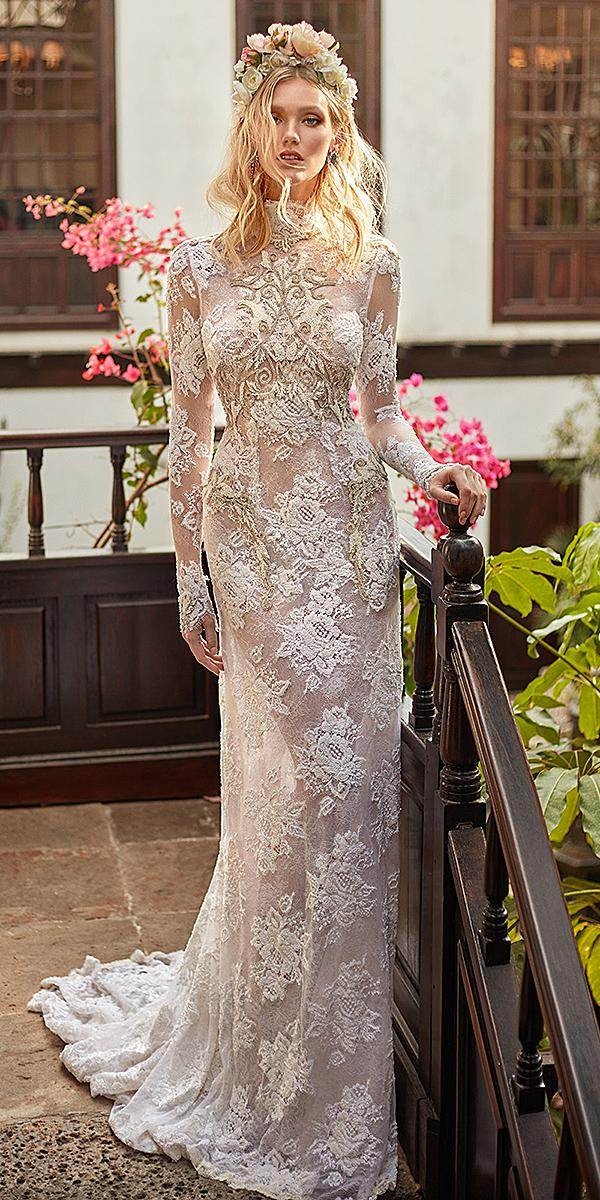 galia lahav wedding dresses with long sleeves high neck embellishment with beads 2018
