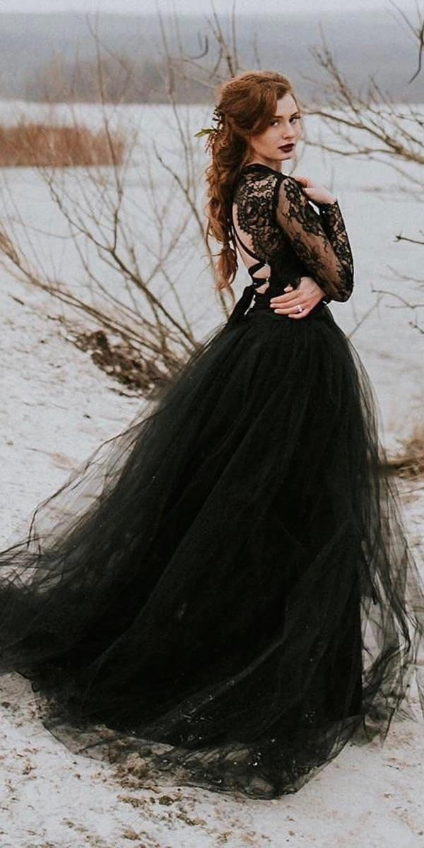 gothic wedding dresses a line lace top with long sleeves tulle skirt sweet caroline styles
