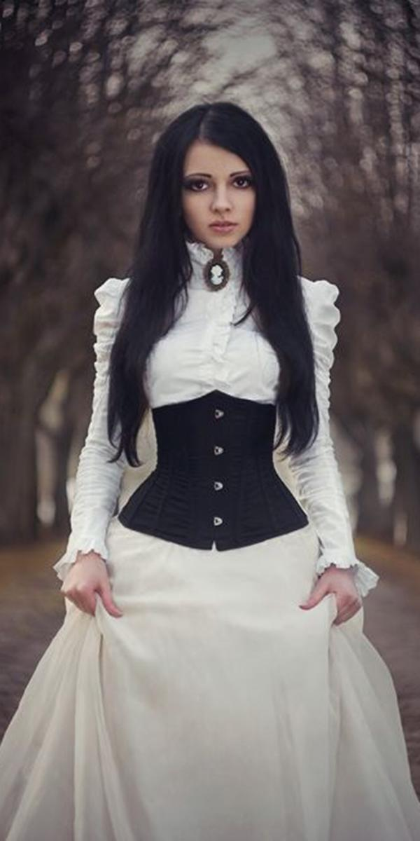 gothic wedding dresses high neck with long sleeves black white martha baez