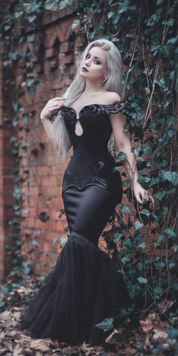 gothic wedding dresses mermaid off the shoulder black aneta pawska