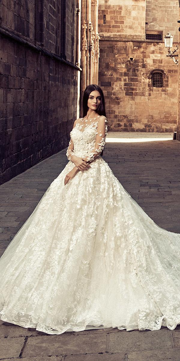 julia kontogruni wedding dresses ball gown illusion neckline with long sleeves 3d floral 2018