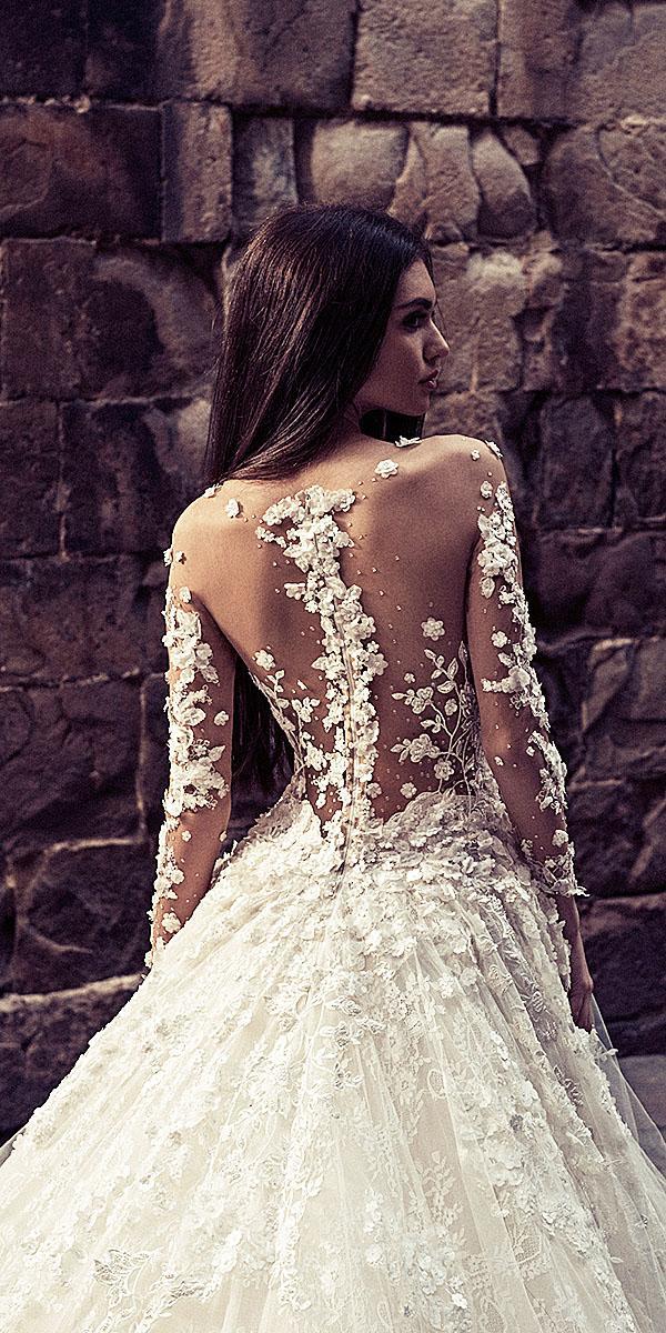 julia kontogruni wedding dresses illusion back with 3d floral details 2018
