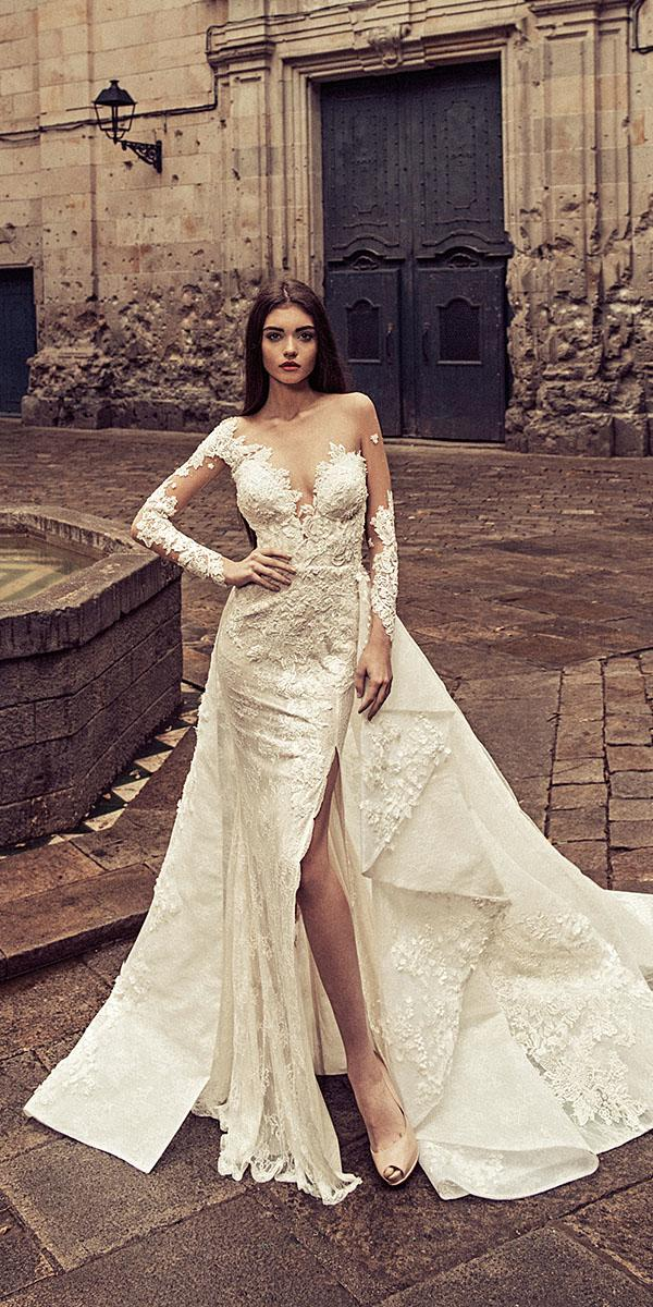 julia kontogruni wedding dresses sheath with overskirt slit sexy 2018