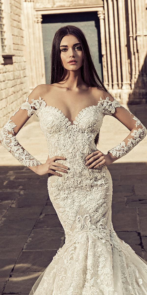 julia kontogruni wedding dresses with illusion sleeves off the shoulder lace embroidered details