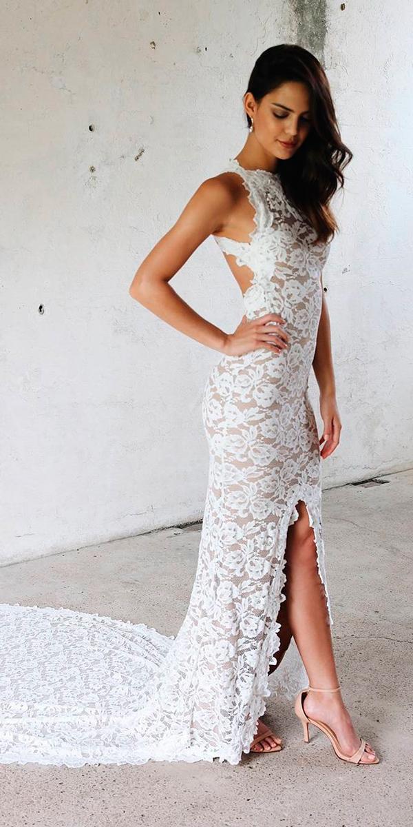 lace-simple wedding dresses sheath high slit sleeveless grace loves lace