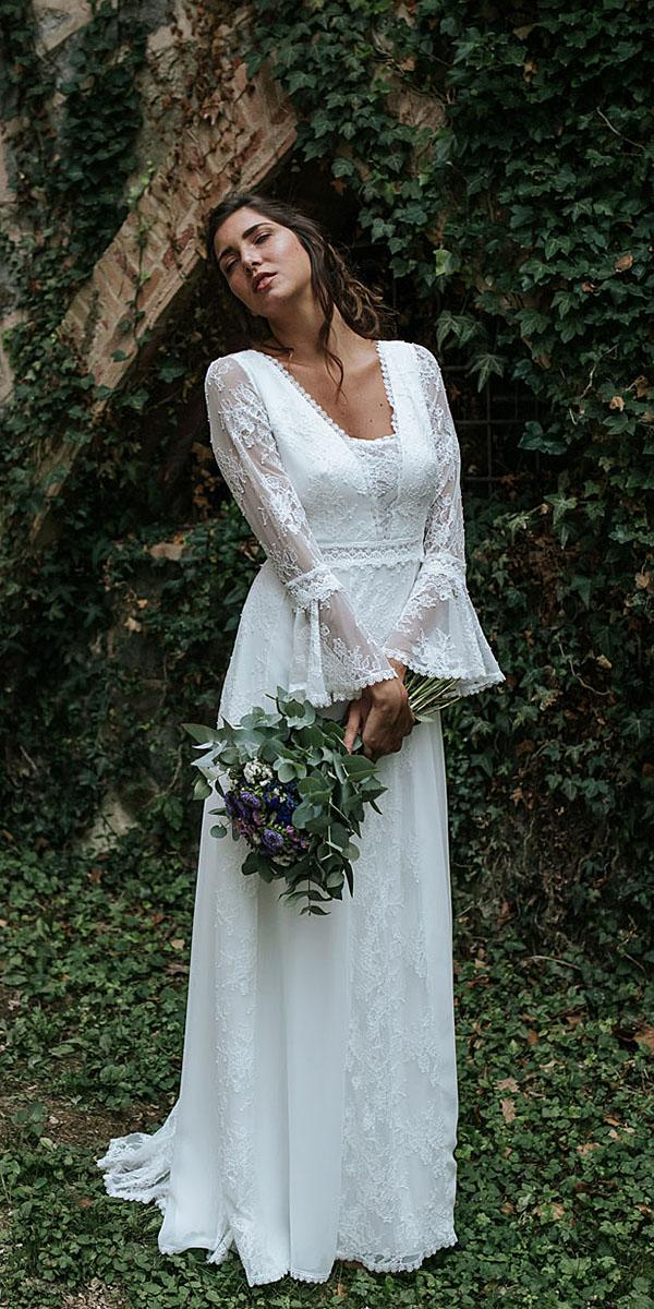 lavetis wedding dresses sheath with long sleeves vintage full lace