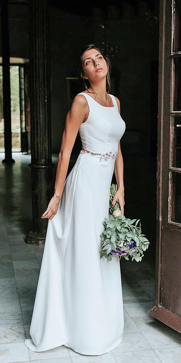 lavetis wedding dresses sheath square neckline simple floral belt