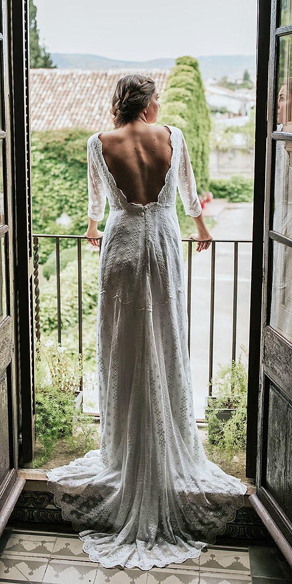 lavetis wedding dresses sheath v back with sleeves vintage lace