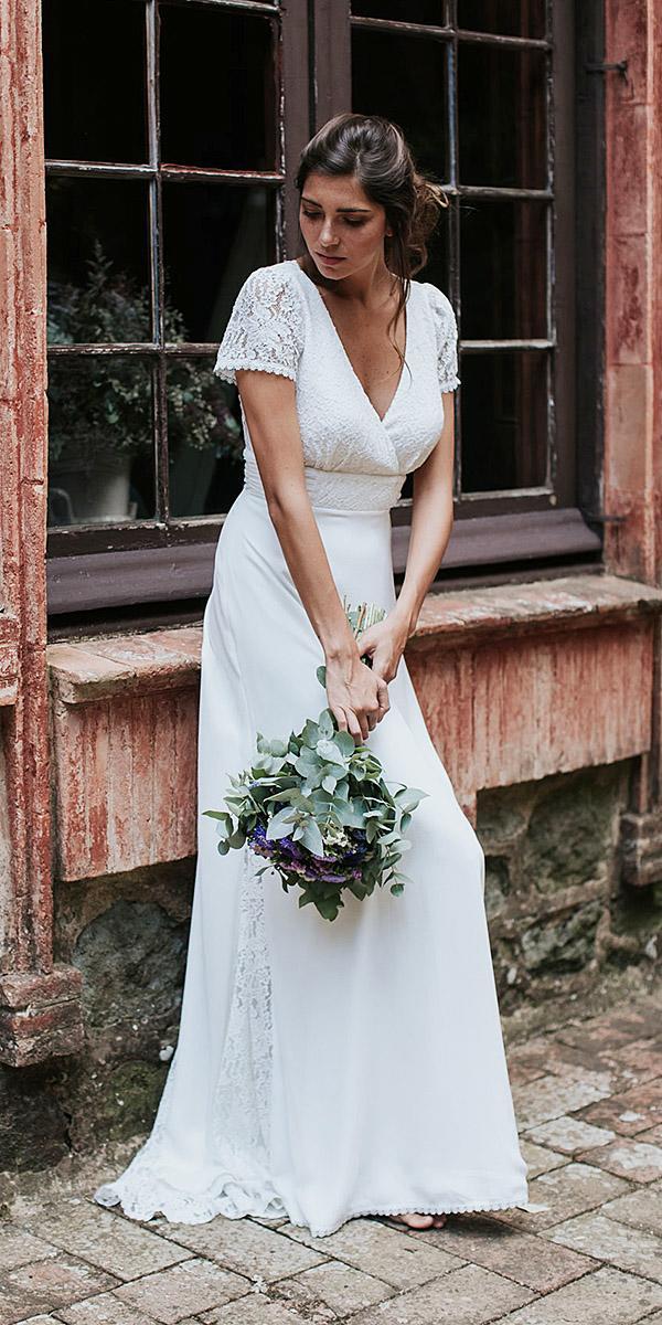 lavetis wedding dresses with cap sleeves v necklne lace vintage elegant 2018