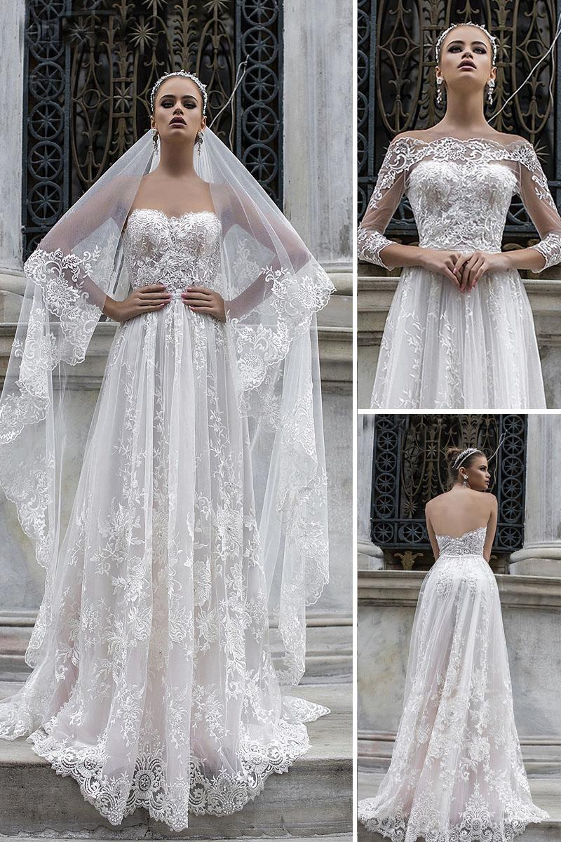 liretta wedding dresses a line detached sleeves full lace