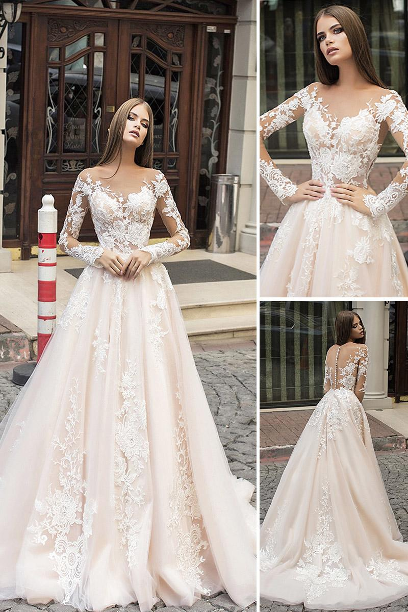 liretta wedding dresses a line with long illusion sleeves floral lace