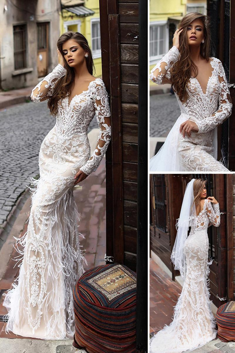 liretta wedding dresses sheat with long sleeves deep v neckline lace