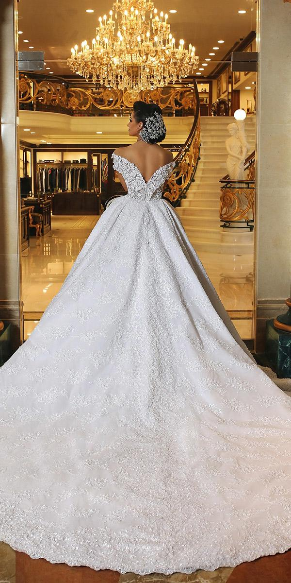 top wedding dresses ball gown v back lace floral appliques mayada sahmarani