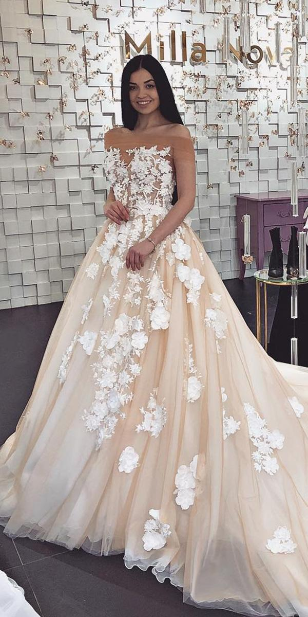 Milla Nova Wedding Dresses Ball Gown Floral Appliques Blush For Real Bride