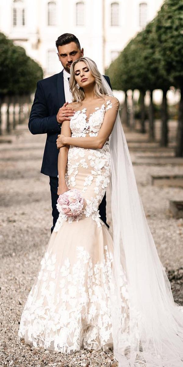 milla nova wedding dresses mermaid for real bride with floral appliques blush