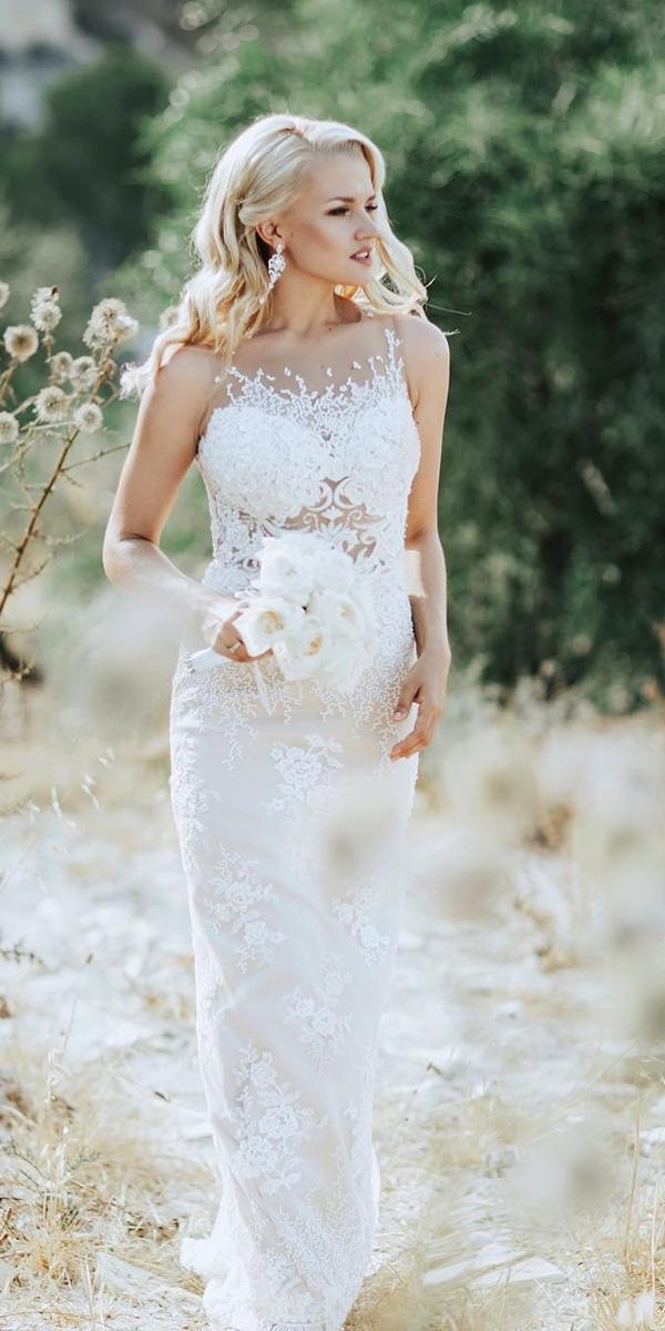 milla nova wedding dresses sheath illusion neckline full lace for real bride