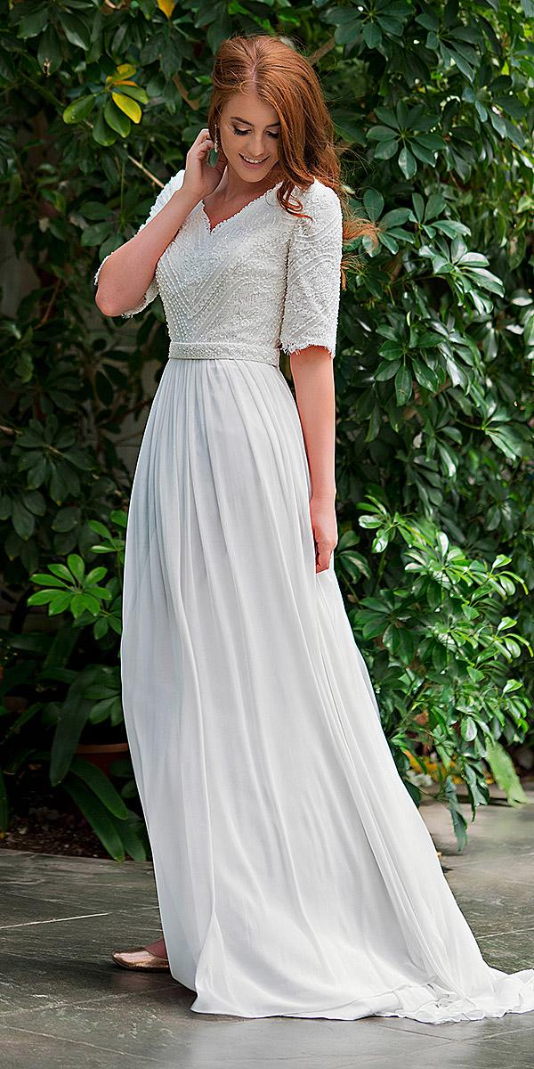 mon cheri modest wedding dresses a line v neckline with sleeeves lace top chiffon