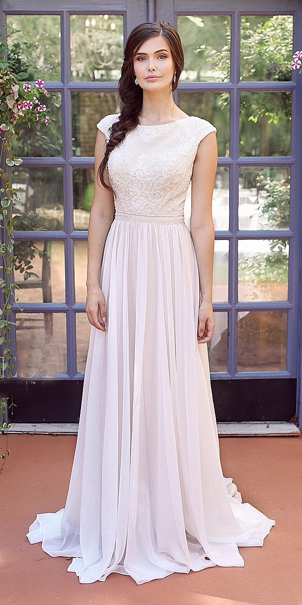 mon cheri modest wedding dresses a line with cap sleeves lace top