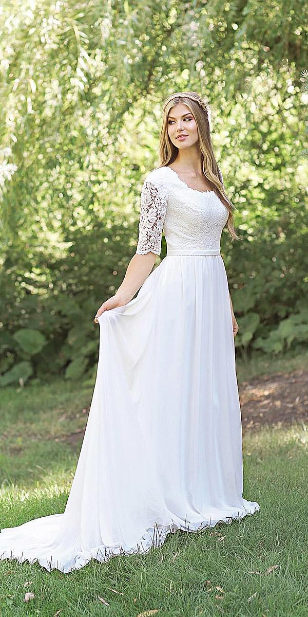 mon cheri modest wedding dresses a line with lace illusion sleeves chiffon skirt