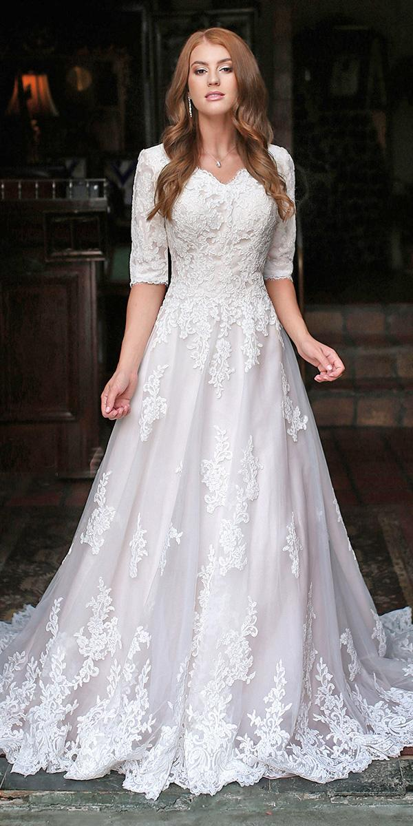 mon cheri modest wedding dresses romantic a line with three quote sleeves lace