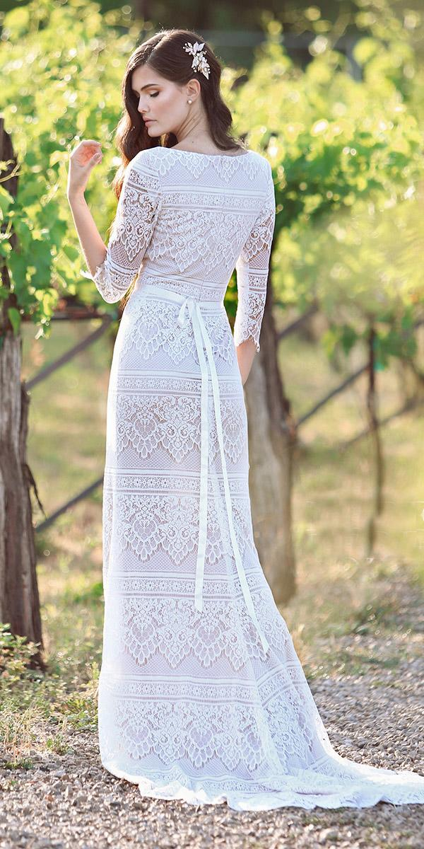 mon cheri modest wedding dresses sheath back three quote sleeves vintage full lace