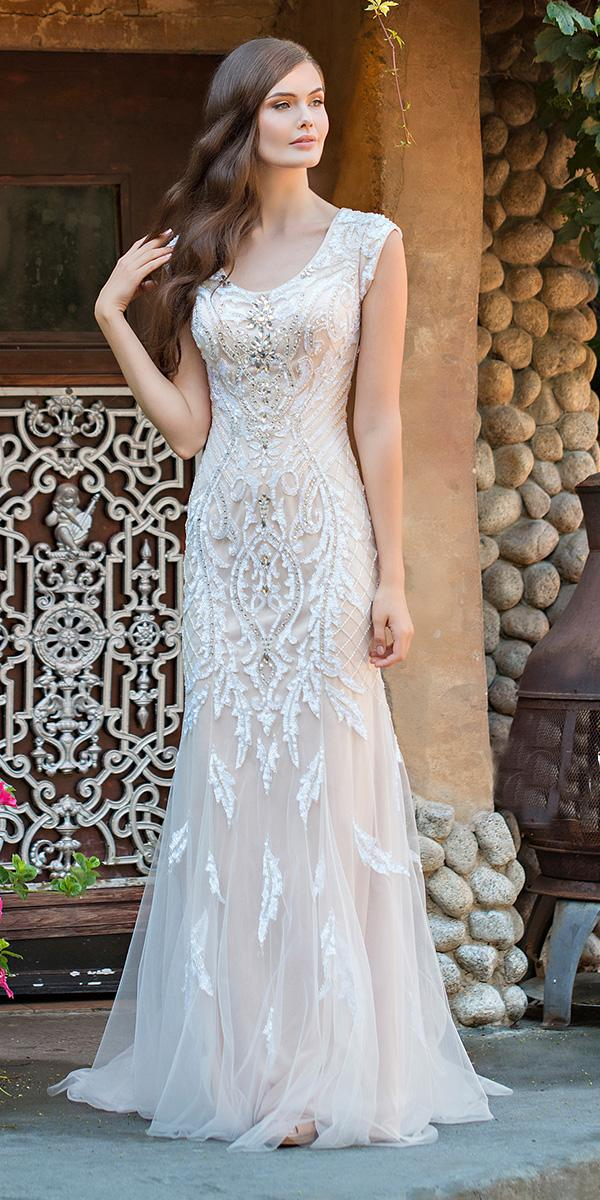 mon cheri modest wedding dresses sheath bateau neckline with lace beaded