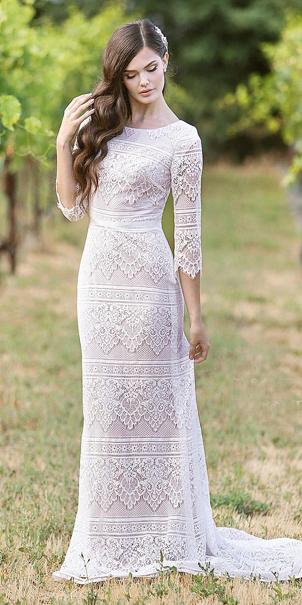 mon cheri modest wedding dresses sheath long with sleeves lace boho