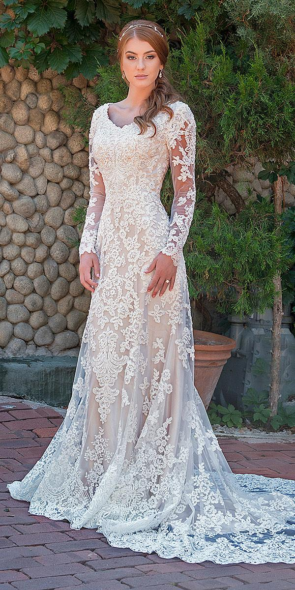 mon cheri modest wedding dresses sheath with long illusion sleeves full lace