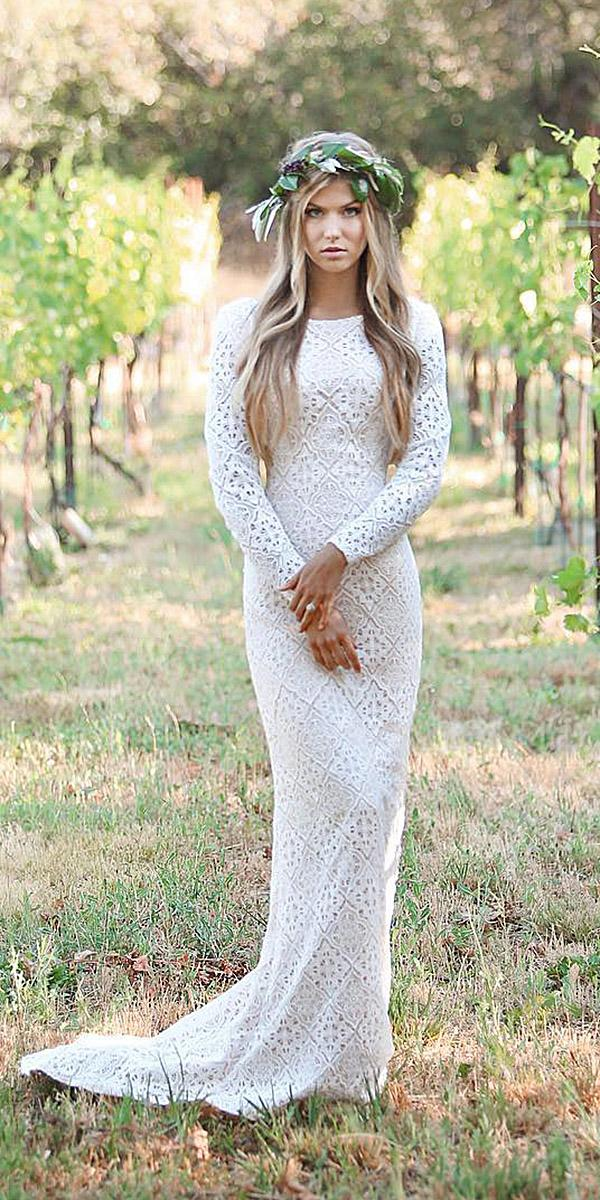 mon cheri modest wedding dresses sheath with long sleeves boho lace boho
