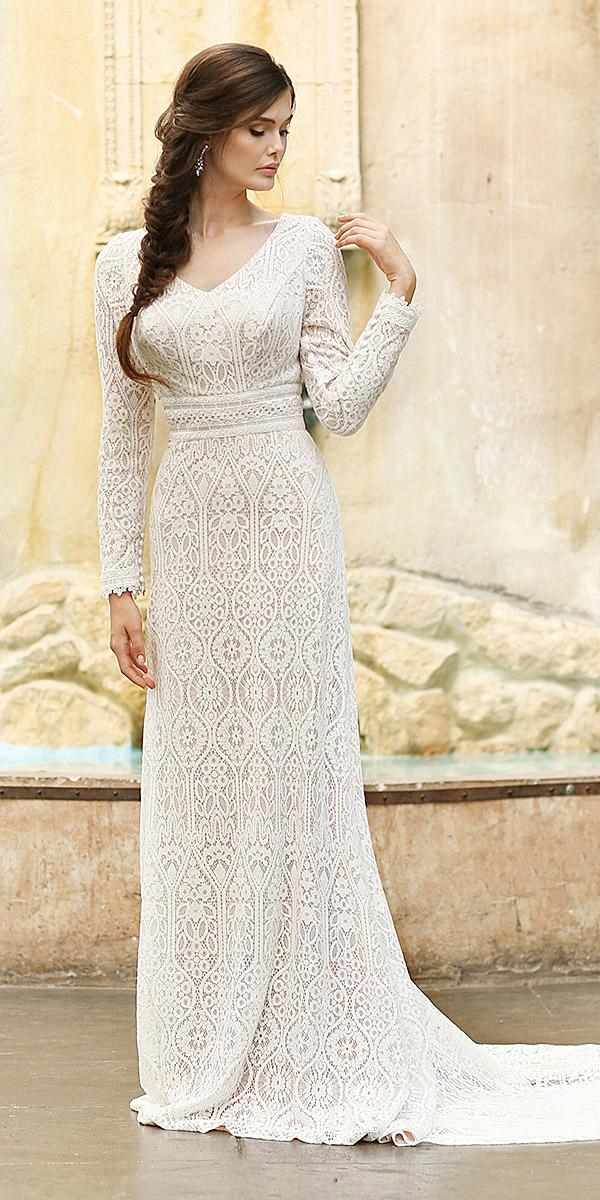 mon cheri modest wedding dresses sheath with long sleeves v neck vintage boho