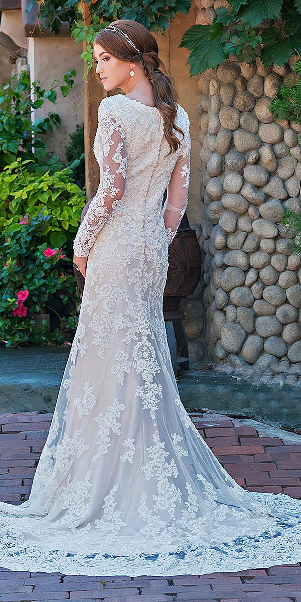 mon cheri modest wedding dresses trumpet with illusion long sleeves full lace beaded