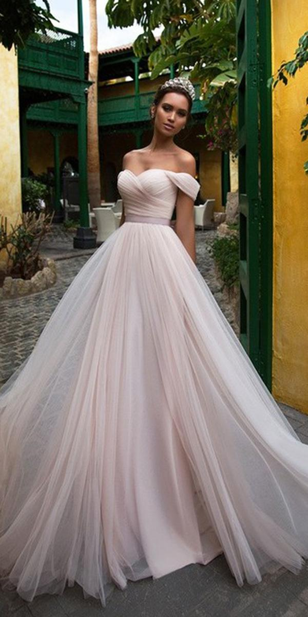 nora naviano wedding dresses a line off the shoulder blush simple