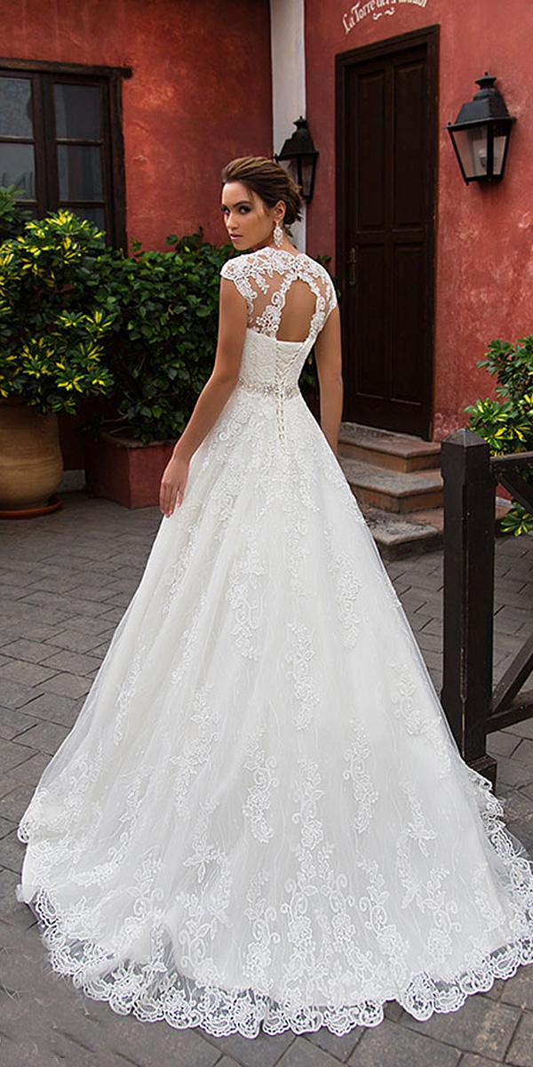 nora naviano wedding dresses a line open back with cap sleeves lace