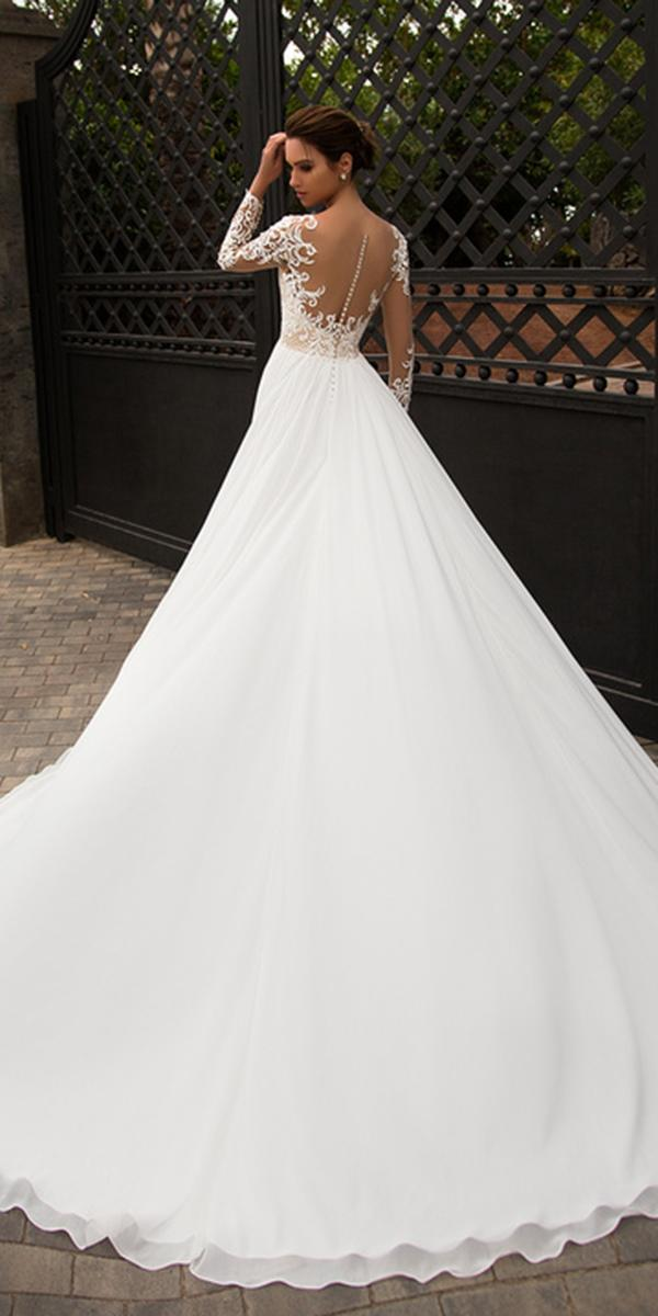 nora naviano wedding dresses a line with long sleeves illusion back buttons