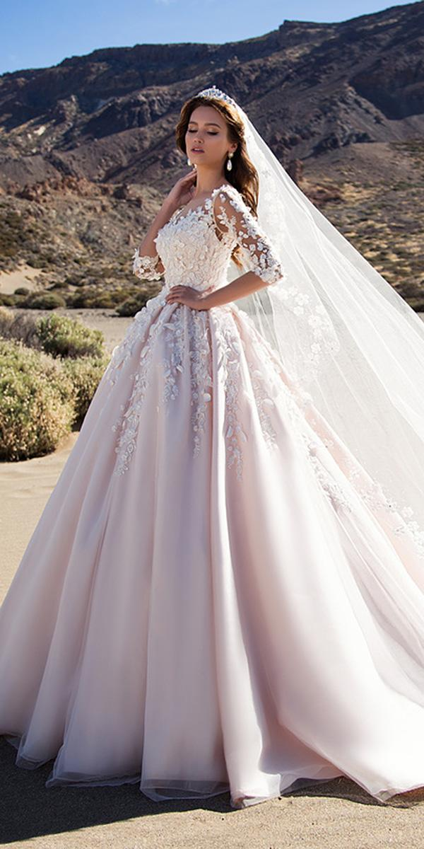 nora naviano wedding dresses ball gown with long sleeves floral appliques