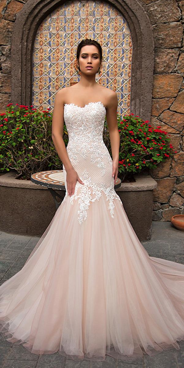 nora naviano wedding dresses mermaid strapless lace blush 2018