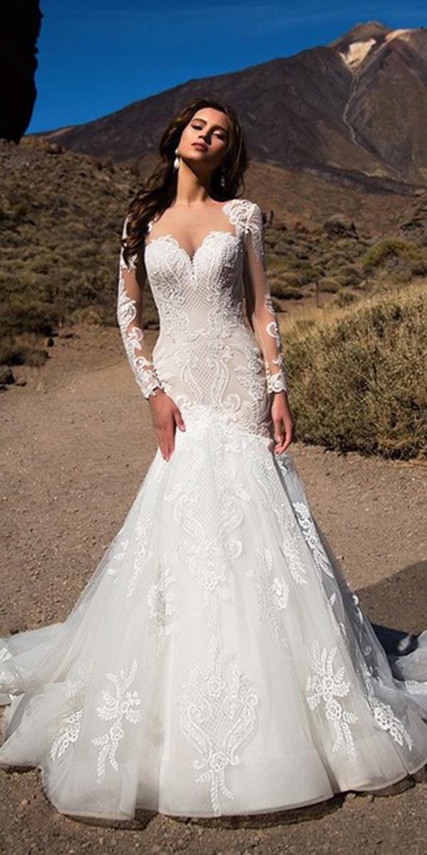 nora naviano wedding dresses mermaid with long sleeves lace 2018